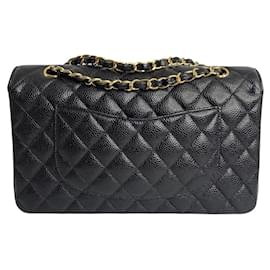 Chanel-Chanel Medium Classic lined Flap Bag in Caviar Leather-Black