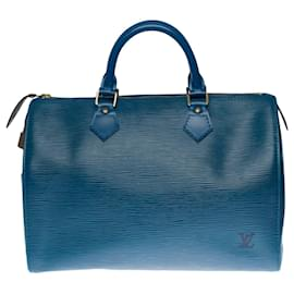 Louis Vuitton-Louis Vuitton Speedy Handbag 30 in blue epi leather, garniture en métal doré-Blue