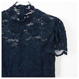 Ganni-[Used] GANNI Total Lace Scalloped Ladies One Piece Dress Long Length Skirt Navy-Navy blue