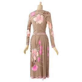 Leonard-[Used] LEONARD Brown Silk Floral Pattern-Brown