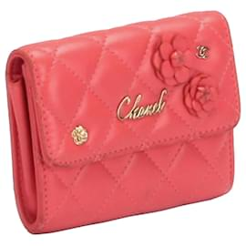 Chanel-Chanel Pink Camellia Leather Wallet-Pink