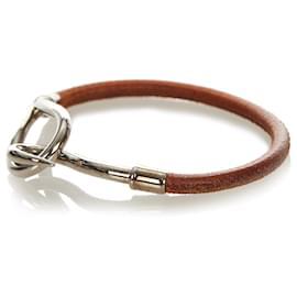 Hermès-Hermes Brown Jumbo Hook Leather Bracelet-Brown,Silvery