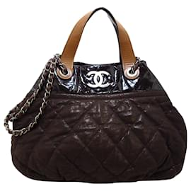 Chanel-Chanel Brown Classic In the Mix Lambskin Leather Satchel-Brown,Black,Dark brown