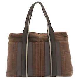 Hermès-HERMES Troca Horizontal MM Tote Bag Canvas Brown Auth ar4838-Brown