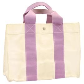 Hermès-HERMES Bora Bora PM Hand Bag Canvas White Purple Auth ar4900-Purple