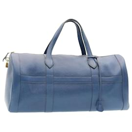 Hermès-HERMES RD Boston Bag Leather Blue Auth ar4960-Blue