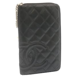 Chanel-CHANEL Matelasse Cambon Line Around Zip Long Wallet Black Pink CC Auth as244-Black
