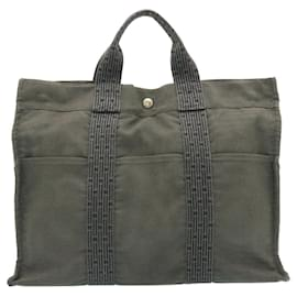 Hermès-HERMES Her Line MM Hand Bag Canvas Gray Auth as245-Grey