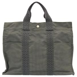 Hermès-HERMES Her Line MM Hand Bag Canvas Gray Auth as246-Grey