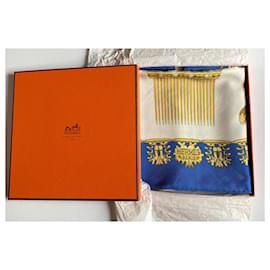 Hermès-Square hermès the golden riders-Blue,Eggshell