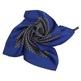 Hermès-[Used] HERMES Mini Carre Silk Blue Popular Pattern-Blue