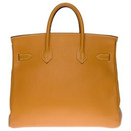 Hermès-Splendid and highly sought after Haut-à-Courroies handbag (HAC) 32 cm leather cow Ardennes gold, gold plated metal trim-Golden