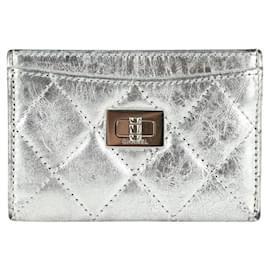 Chanel-Quilted Silver Leather Reissue Turnlock Card Holder Wallet Case-Other