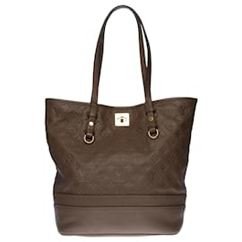 Louis Vuitton-Superb Louis Vuitton Citadines shopping bag in brown empreinte monogram leather , garniture en métal doré-Brown