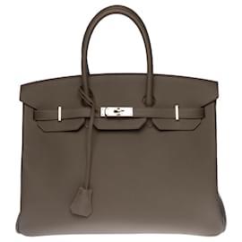 Hermès-New - Full Set - Hermès Birkin 35 in pewter gray Epsom leather, palladium silver metal trim-Grey