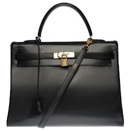 Hermès-Stunning Hermes Kelly handbag 35 returned shoulder strap in black box leather , gold plated metal trim-Black