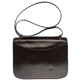 Hermès-Splendid Hermes Constance handbag 23 cm in brown box leather, garniture en métal doré-Brown