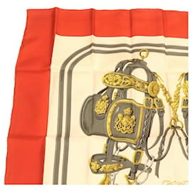 Hermès-HERMES CARRE 90 Scarf BRIDES de GALA 100% Silk Red Auth gt1165-Red