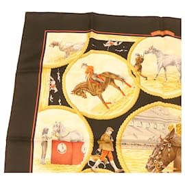"""Hermès-HERMES CARRE90 Scarf """"""""AUTEUIL EN MAI"""""""" Silk Red Auth gt1375-Red"""
