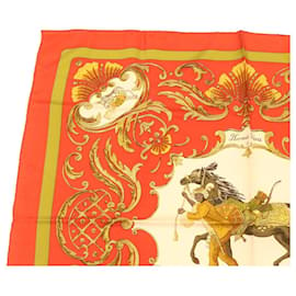 """Hermès-HERMES CARRE90 Scarf """"""""Cheval Jurc"""""""" Silk Red Auth gt1376-Red"""