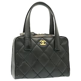 Chanel-CHANEL Wild stitch Matelasse Hand Bag Leather Black CC Auth gt1388-Black
