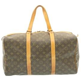 Louis Vuitton-Louis Vuitton Monogram Sac Souple 45 Boston Bag M41624 LV Auth as278-Brown