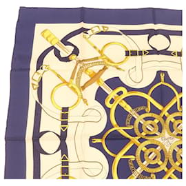 """Hermès-HERMES CARRE90 Scarf """"""""EPERON D'OR"""""""" Silk Blue Auth br373-Blue"""