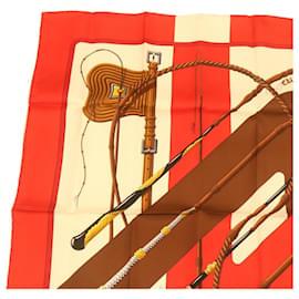 "Hermès-HERMES CARRE90 Scarf """"clic clac"""" Silk Brown Auth br377-Brown"