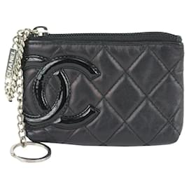 Chanel-Black Quilted Leather Cambon Ligne Key Pouch Change Keychain-Other