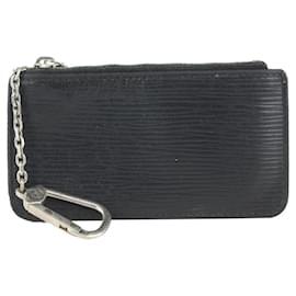Louis Vuitton-Black Epi Leather Noir Key Pouch Pochette Cles Keychain-Other