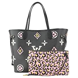 Louis Vuitton-Black x Pink Wild at Heart Neverfull MM with Pouch-Other