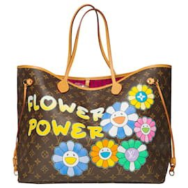 """Louis Vuitton-Superb Louis Vuitton Neverfull GM tote in customized """"Flower Power"""" monogram canvas-Brown"""