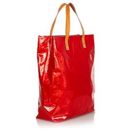 Louis Vuitton-Louis Vuitton Red Vernis Reade MM-Brown,Red