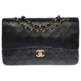 Chanel-Splendid Chanel Timeless Medium Bag 25cm with lined flap in black quilted leather, garniture en métal doré-Black