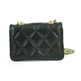 Chanel-Chanel black super mini black lambskin single flap bag in excellent condition-Black