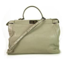 Fendi-Fendi Peekaboo Very Light Gray Leather Tote Large Handbag-Grey