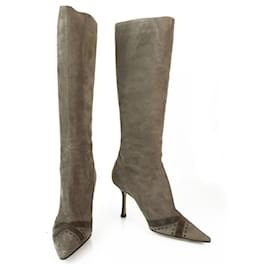 Jimmy Choo-Jimmy Choo Taupe Suede with Brown Leather Boots Slim heels Pointed Toe size 39-Brown,Taupe