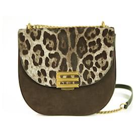 Etro-Etro Pegaso suede leather fur crossbody bag messenger shoulder bag leopard brown-Brown