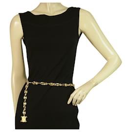 Céline-Celine Vintage Goldtone Chain Belt with logo charm dangling adjustable up to 100cm-Gold hardware