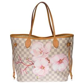 "Louis Vuitton-Splendid Louis Vuitton Neverfull MM tote bag in azur damier canvas customized ""Flower Power""-Beige"