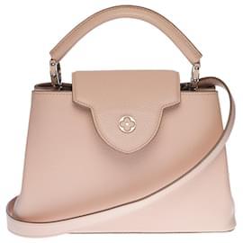 Louis Vuitton-Splendid Louis Vuitton Capucines BB handbag with shoulder strap in pink Taurillon leather, Garniture en métal argenté-Pink