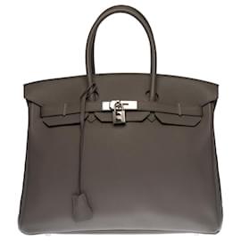 Hermès-Splendid Hermès Birkin handbag 35 in Togo Etain leather, palladium silver metal trim-Grey