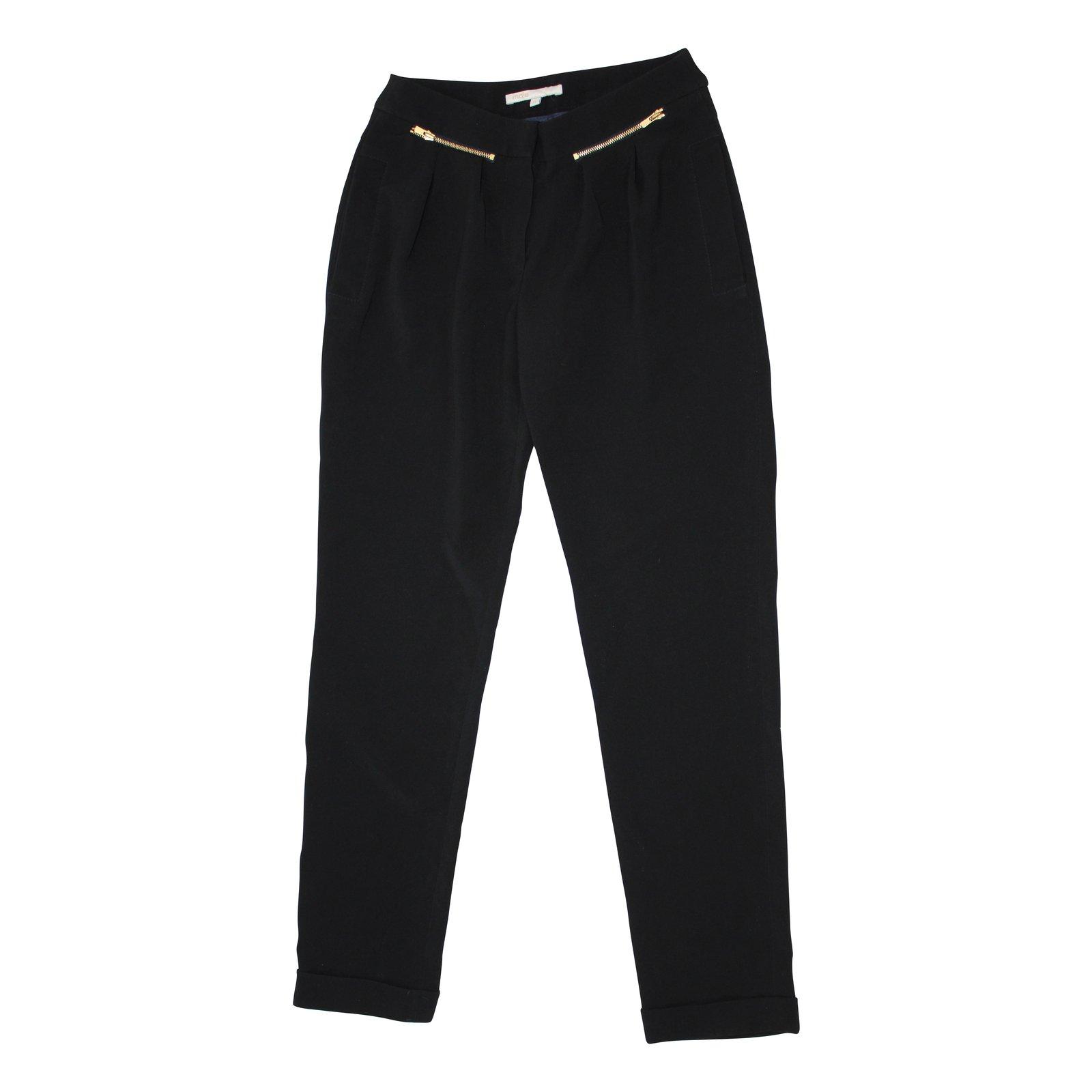 pantalons maje pantalon carotte polyester acetate noir ref. Black Bedroom Furniture Sets. Home Design Ideas