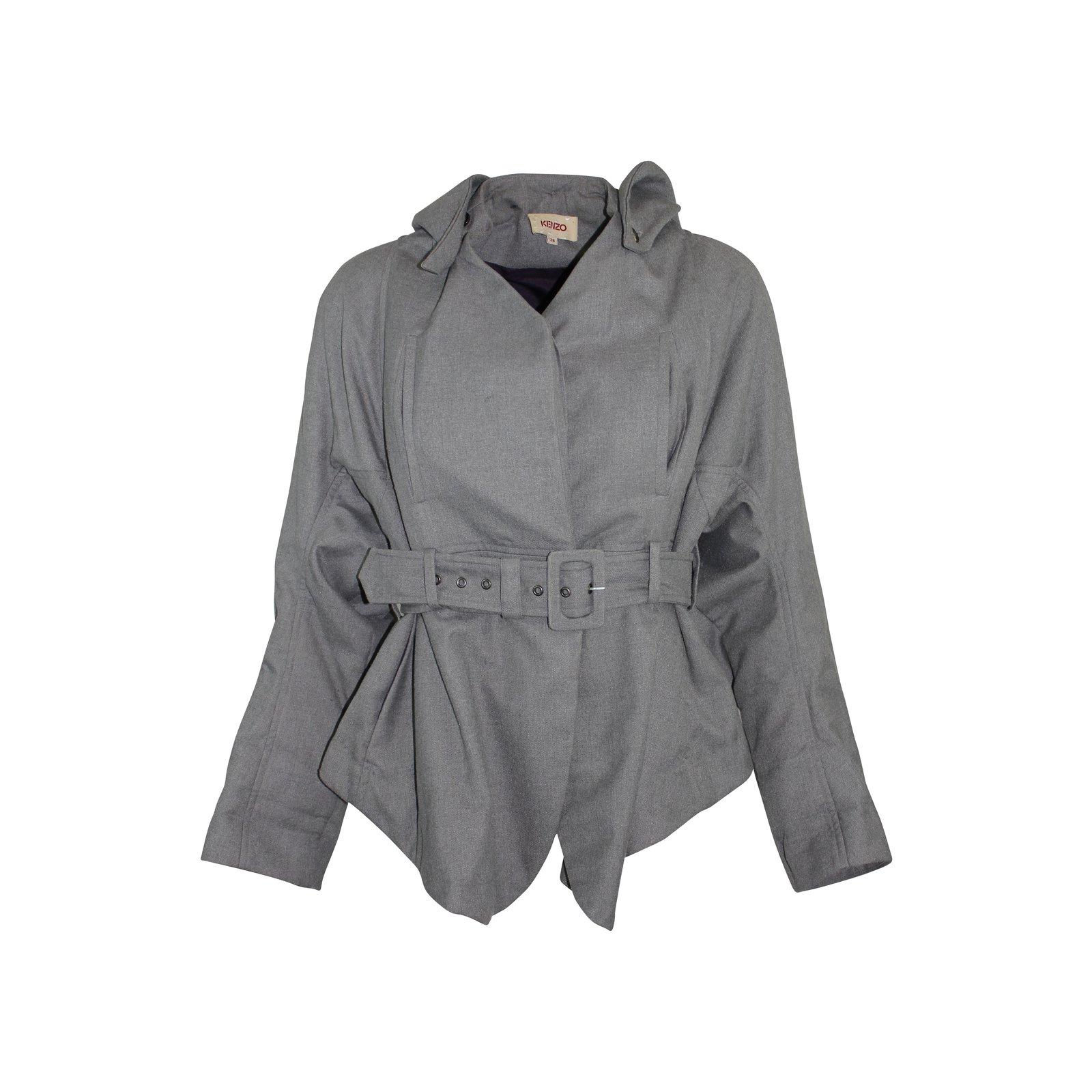 vestes kenzo veste avec capuche amovible soie polyester viscose gris joli closet. Black Bedroom Furniture Sets. Home Design Ideas