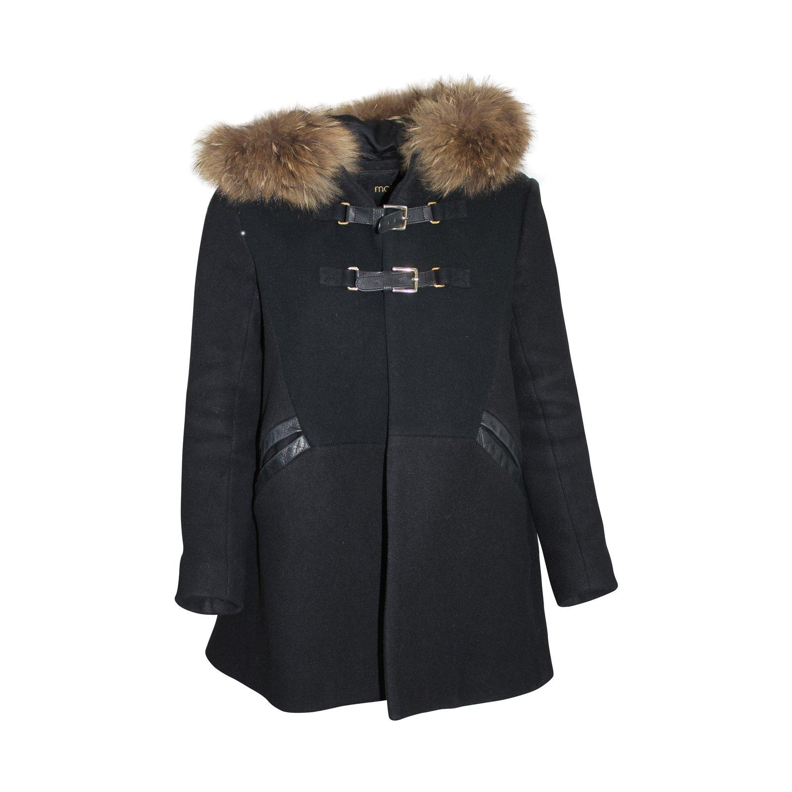 manteaux maje manteau avec capuche cachemire laine raton laveur noir joli closet. Black Bedroom Furniture Sets. Home Design Ideas