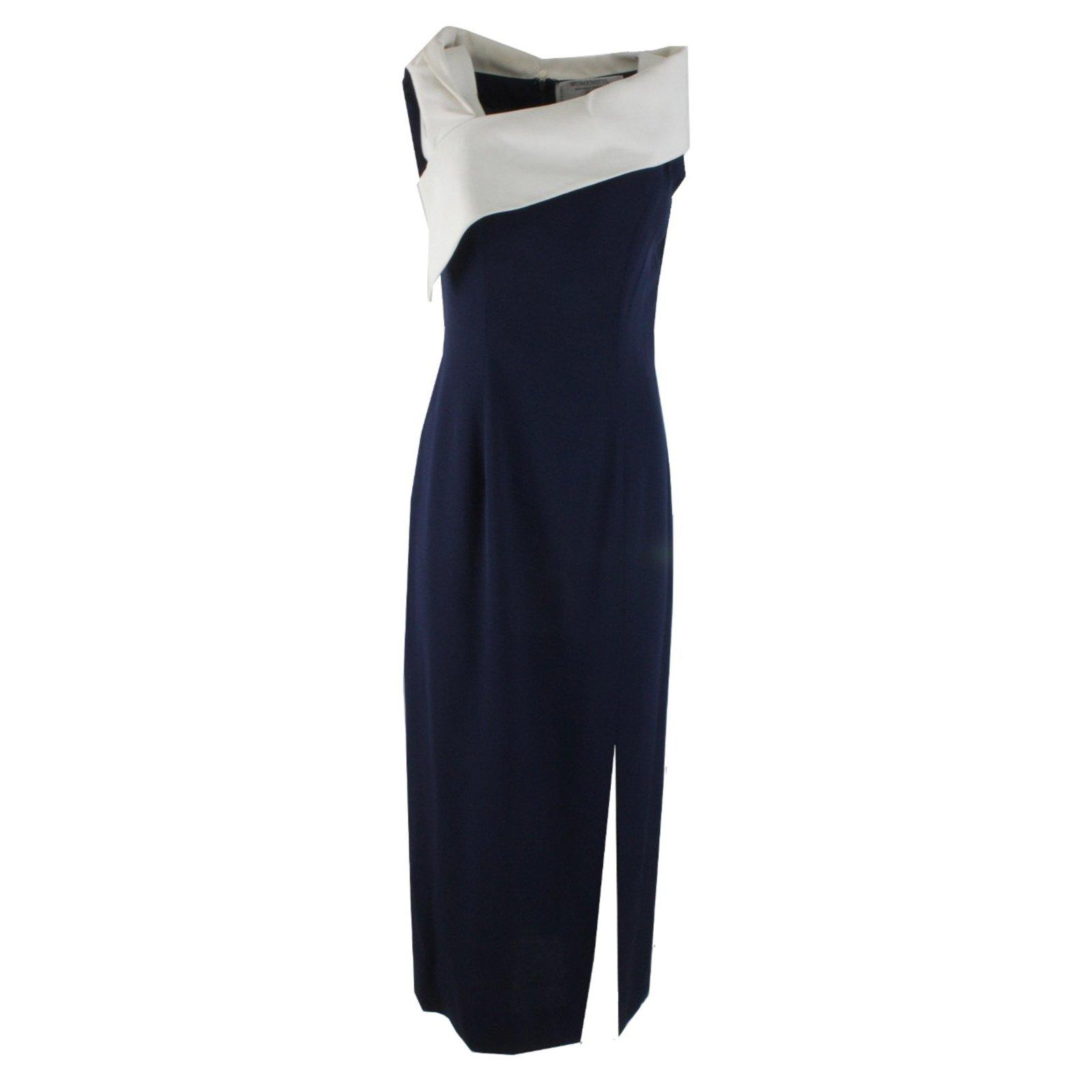 Robes Womenstyl Robe Longue Soie Polyester Viscose Acetate Blanc Bleu Ref 5257 Joli Closet