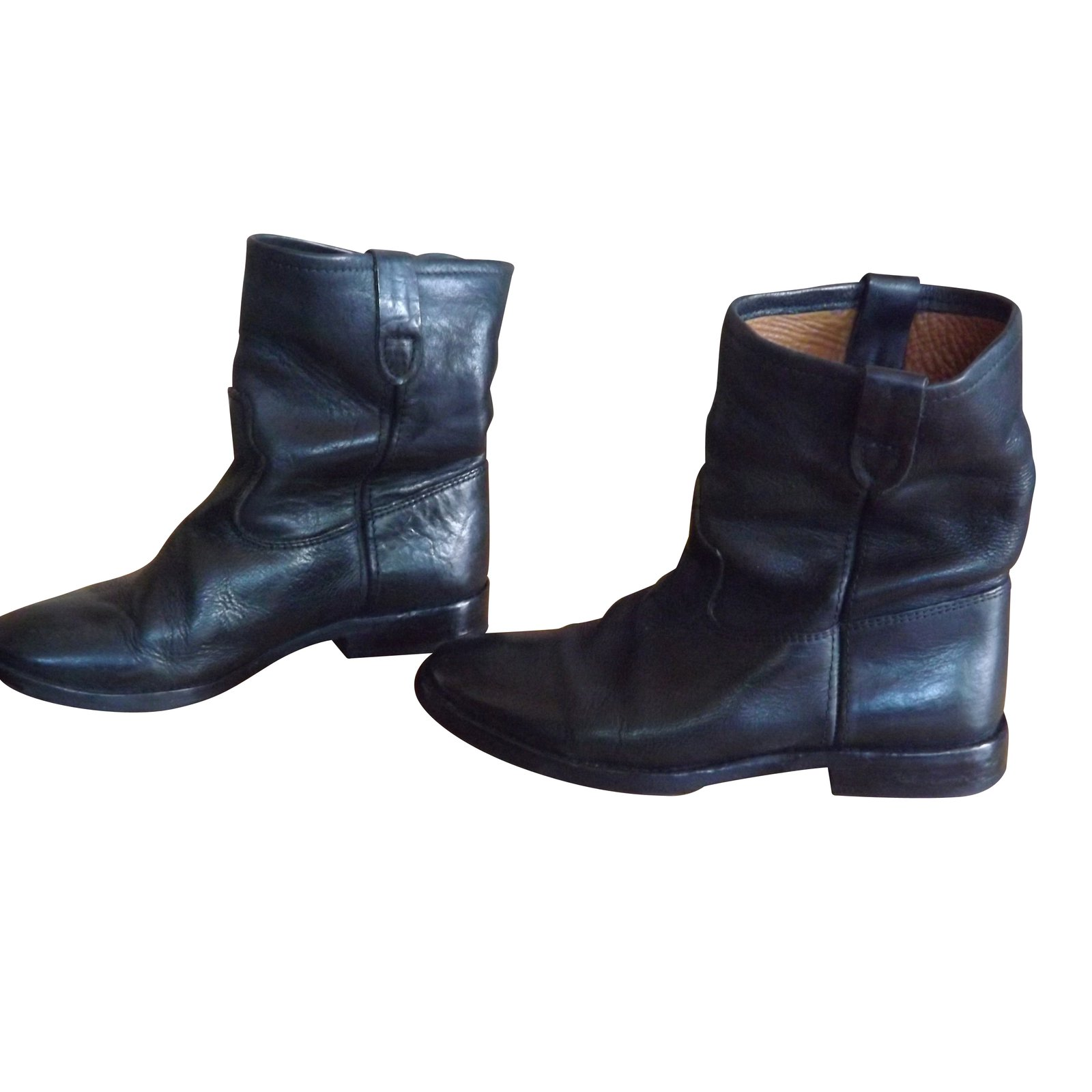 Isabel Marant Ankle Boots Ankle Boots Leather Black ref.5476 - Joli ... 8ec0752fd928