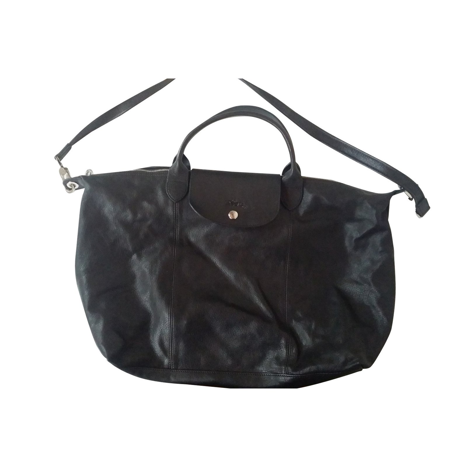 sacs main longchamp sac main pliage cuir cuir noir joli closet. Black Bedroom Furniture Sets. Home Design Ideas