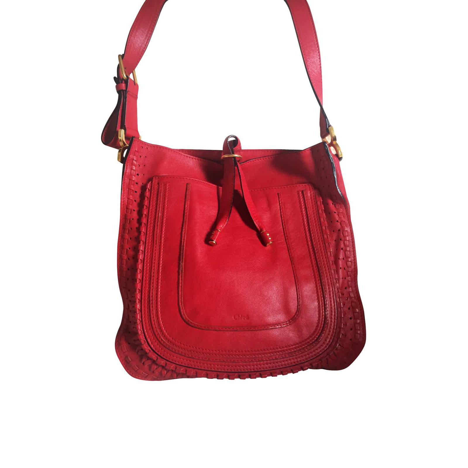 chole purses - Sacs �� main Chlo�� MARCIE Cuir Rouge ref.5951 - Joli Closet