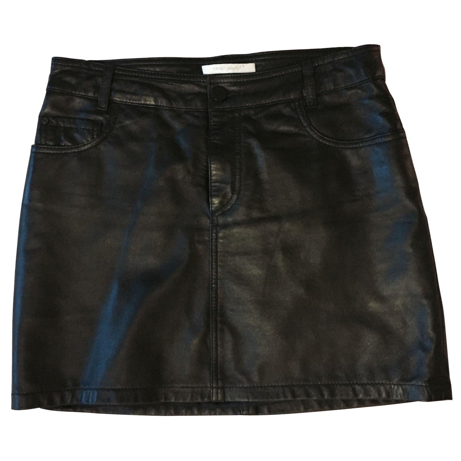 jupes sessun jupe en cuir ligne play cuir noir joli closet. Black Bedroom Furniture Sets. Home Design Ideas